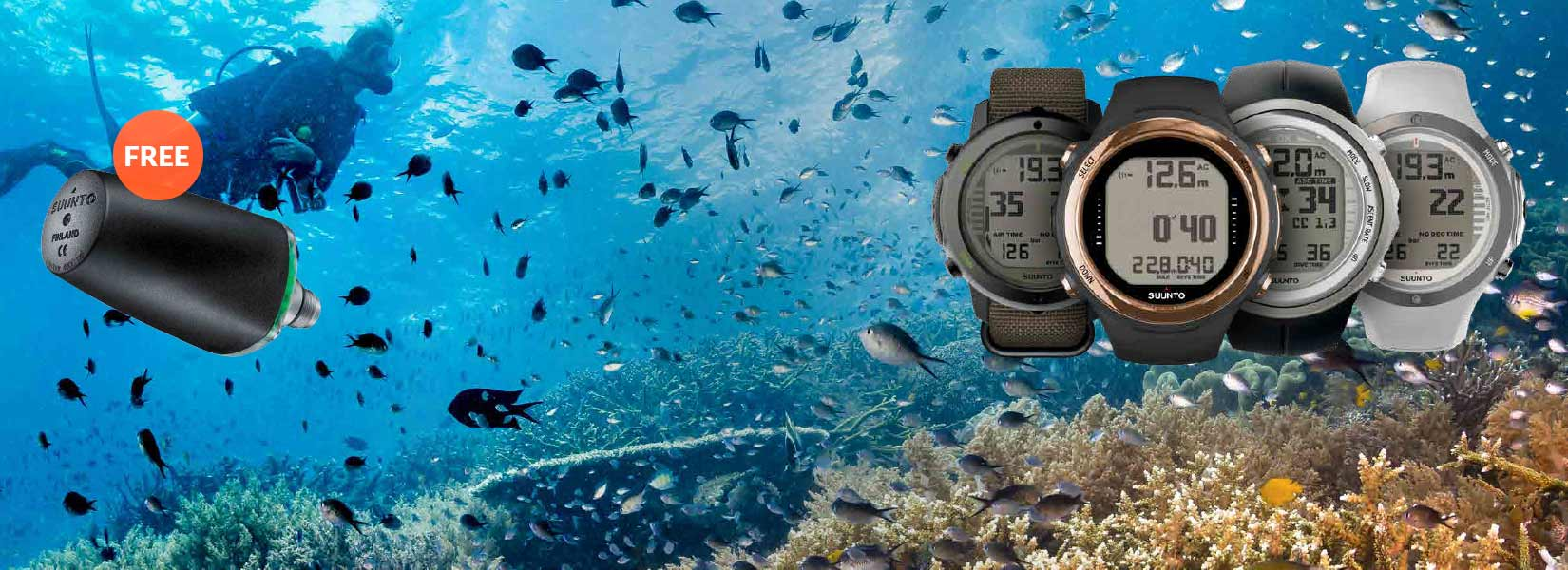 Get a free Transmitter with any purchase of Suunto Serie D